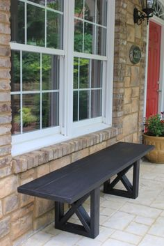 $20 DIY Bench.......seems simple enough to convert to a table as well.....1 table, 2 benches, hmmmmmmm