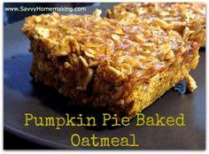 Pumpkin Pie Baked Oatmeal (E) healthi mama, pie bake, trim healthy mamas, baked oatmeal, trim healthi, pumpkins, oatmeal recip, bake oatmeal, pumpkin pies