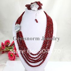 Fabulous 5R Garnet Red Coral Jewelry Set 5-6mm Natural Coral Beaded Necklace/Bracelet/Earrings Set 2012 Fashion Jewelry CNR055