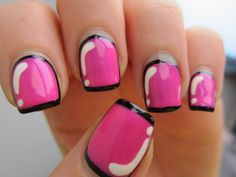 """Previous Pinner: """"Hot pink cartoon nails tutorial:  Paint the nails black.  Paint over the black with a bright colour (I used China Glaze Hang Ten Toes), leaving the black showing around the edge.  Use a thin brush to paint a line of black across the tip.  Add shine with white polish and a thin brush.  Topcoat with Seche Vite, or your favourite topcoat product.  http://reneesnails.tumblr.com/post/44605396803/how-i-did-my-comic-nails-paint-the-nails-black"""""""
