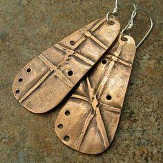 Fold Formed Copper Earrings.
