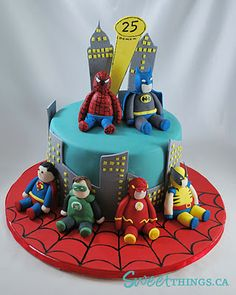 Cute superheroes cake
