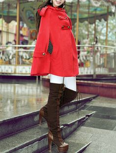 Hooded Outerwear Wool Coat Double Breasted by dresstore2000
