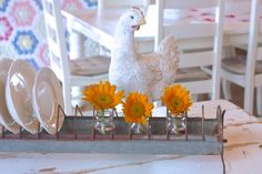 mama hen and sunflowers