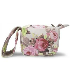 Floral Small Leather Pouch Bag//