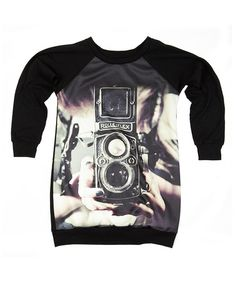 Look at this #zulilyfind! Black Vintage Camera Sweatshirt Dress #zulilyfinds