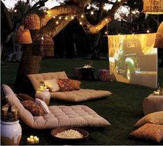 Fun outdoor movie party idea