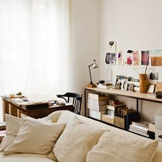 interior, comfy couches, living rooms, living spaces, offic, desk, living room shelves, workspac, craft rooms