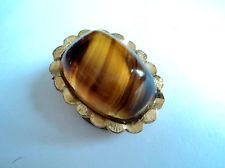Vintage MODERNIST Style SCARF CLIP Ring BROWN GLASS Faux Banded Agate & GOLDTONE