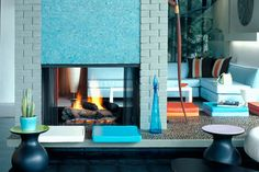 Mosaic Tile Fireplace Surround