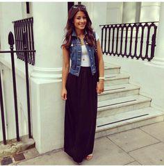 denim+vest+outfit+ideas   denim vest with maxi skirt.