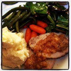 Perfect fall meal... Roast pork loin with homemade rosemary applesauce and garlic mashed potatoes!  Http://lemoinefamilykitchen.blogspot.com