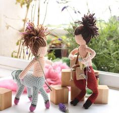 Craftelina crocheted these dolls inspired by Greek mythology