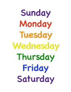 Days of the week print out