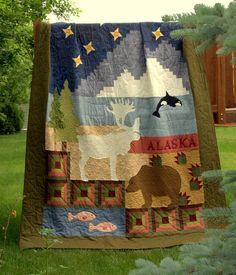 Alaska Quilt  rugged masculine wildress quilt by HouseofdeVeer, $995.00