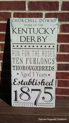 12x24 Kentucky Derby Word Art Painted Sign by petuniafitzgerald, $60.00