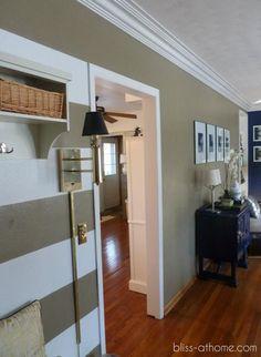 Oak baseboards and white doorway