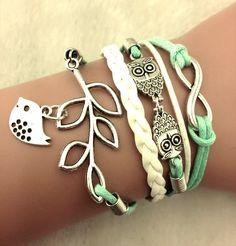 Cute Wrap Bracelet, Dangle Bird Bracelet, Cute Bird Owl Infinity Bracelet, Mint Green and White Bracelet  #Jewelry