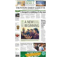 The front page of the Taunton Daily Gazette for Saturday, Sept. 13, 2014.