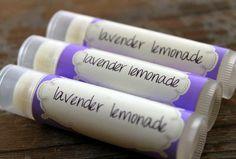 .15 oz Lip Balm Labels Lavender Lemonade Lip Balm.  Make your own custom labels.