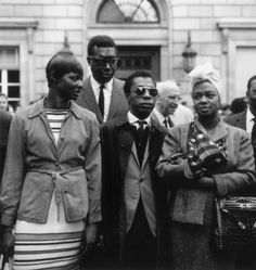 """divalocity:  Even as Expats the struggle continued…Mae Mercer, Memphis Slim, James Baldwin and Hazel Scott, supporting the """"Protest March on Washington"""" in Paris, France, circa 1963.    vintageanchor:    """"American history is longer, larger, more various, more beautiful, and more terrible than anything anyone has ever said about it.""""—James Baldwin"""