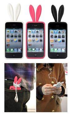 Funda de silicona con orejas de conejo, para iPhone. Colores: blanco, fucsia y negro. $36 CaprichosElementales@gmail.com
