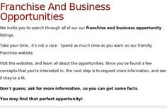 Search Our Franchise Opportunity Directory For The Best Opportunities