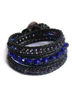 Indigo Glass Crystal 3x Leather Wrap Bracelet by lazysundaysshop, $42.00