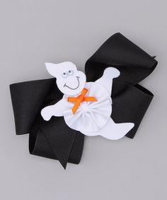 This Picture Perfect Black Bow & White Ghost Clip by Picture Perfect Hair Bows is perfect! #zulilyfinds