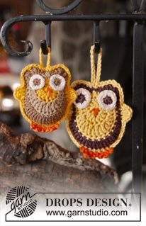 "Free Pattern. DROPS Easter: Crochet DROPS owls in ""Safran"" and ""Muskat"". ~ DROPS Design"