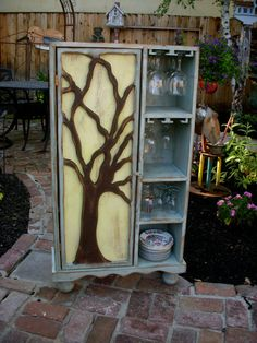 Wood Wine Rack - Rustic Furniture - Oak Tree Cabinet. why does everything i like have to be so much $$??