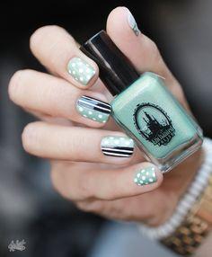 Nail art mint blanc et noir #mani #nailart #nails