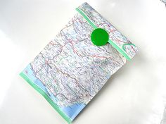 cute idea... map bag, gift wrapping, map gift, map packaging