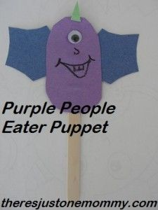 kids Halloween craft -- purple people eater puppet   @ There's Just One Mommy