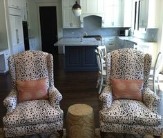 upholstered in Brunschwig & Fils Les Touches Cotton Print Black Fabric