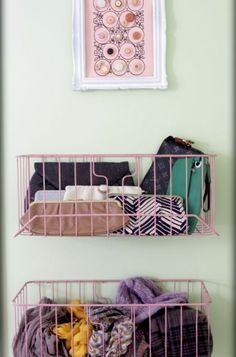 These wire baskets are meant to hold manila folders. Screw them to your closet door (or a wall) and they become cute catchalls for all those awkward accessories like scarves, tights and clutches.  I like this idea for Audrey's closet