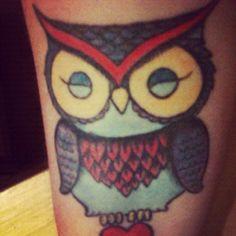 "I call her ""Gertie"" #owl #tattoo #color #bird #ink #skin #arms #love color bird, tattoo color, bird ink, owls, owl tattoos"