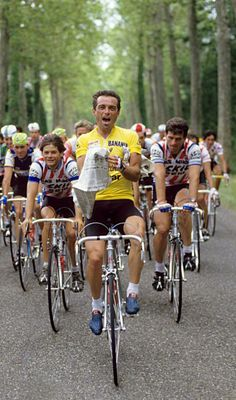 Bernard Hinault in 1985 on his way to a record fifth Tour de France win.