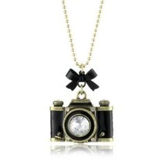 """Betsey Johnson \""""Royal Engagement\"""" Large Camera Long Pendant Necklace - designer shoes, handbags, jewelry, watches, and fashion accessories 