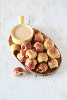 Pretzel Dog Bites with Beer Cheese Dip |