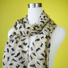 Cat print scarf $18.00, via Etsy.
