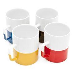 Color dipped mugs.