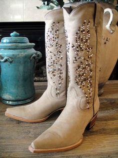 Boots embellished with Swarovski crystals