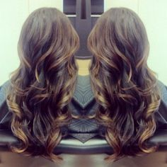 Balayage Layers & Curls, brunette with caramel- Hairstyles and Beauty Tips