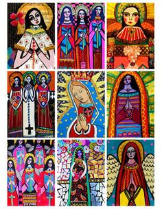 9 ACEO ATC Angels Virgin of Guadalupe Mary Art Prints