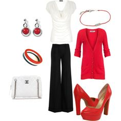 red,white & black - not those pants, not those shoes, but this idea