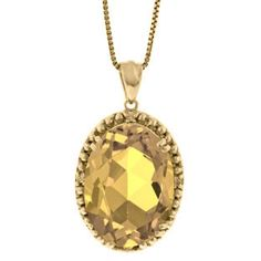Large Oval Citrine Gemstone Diamond Pendant In Yellow Gold Available Exclusively at Gemologica.com