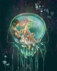 Jellyfishbowl;Digital Art by French artist Sylphielmetallium. french artist, fairi