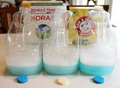 a new homemade laundry detergent recipe I want to try...no grating! less storage space needed, make a gallon at a time; not five!