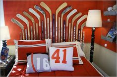 Hockey Sports Theme With Pillow And Red Bedspread Plus Black White Floor Lamp